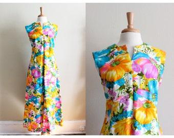 1960s Dress / Vintage Flutterbye Neon Floral Long Maxi Dress