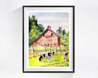 Old Barn Art Print Watercolor Barn Artwork, Red barn landscape painting, Barn landscape wall art, Vineyard print dairy cows barn animals