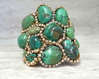 Huge Green Turquoise Cuff Bracelet -Bracelet with Natural Green Turquoise Stones & Rhinestone (set in gold)4084b