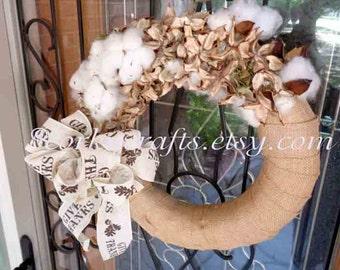Cotton Burr wreath - farmhouse decor, southern, fall wreath