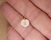 Rose gold initial necklace - Tiny Initial necklace - Dainty initial - Small initial - Personalized disc jewelry - Initial disc tag