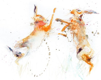 Hare animal art, LIMITED edition PRINT 0f painting  Boxing Hares  .(1132) hand signed, illustration,  rabbit art