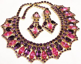 Pink and Amethyst Bib Necklace and Earrings Demi Parure