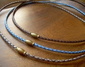 Thin Braided Leather Necklace With Brass Magnetic Clasp, Leather Necklace, Mens Necklace, Mens Jewelry, Fathers Day,Groomsmen,Groom,Necklace