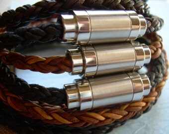 Mens Wrap Bracelet, Braided Leather Bracelet, Mens Bracelet, Magnetic Clasp, Mens Jewelry,Leather Bracelet, Leather Jewelry