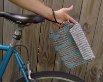 Bicycle Top Tube Wristlet - french blue and birch color