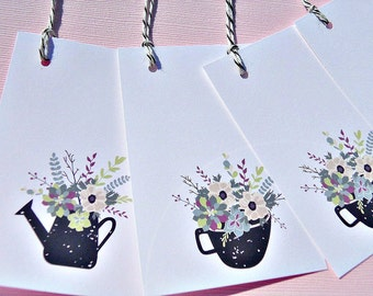 Floral Gift Tags - Flower Gift Tags - Birthday Gift Tags - Gift Card Enclosures - Shower Gift Tags - Tea Cup Gift Tags - cwcgt