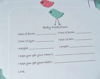 Baby Prediction Cards - Baby Shower Games  - Baby Forecast Cards - Baby Wish Cards - Baby Guest Book Cards - Baby Chick Cards - chpc