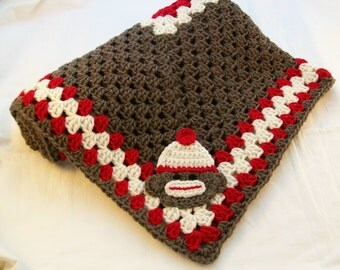Sock Monkey Baby Blanket Crochet Baby Blanket Sock Monkey Baby Afghan Sock Monkey Crib Bedding Stroller Blanket Sock Monkey Baby shower