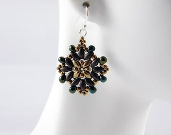 "READY TO SHIP Superduo Bronze Beadweaving Earrings ""Arabesque No. 1"""