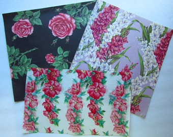 Lovely Vintage Floral Gift Wrap - Scrapbooking - Jewelry Making - 3 Sheets