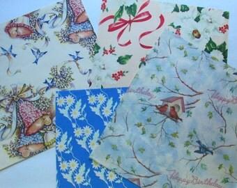 Pretty Vintage Gift Wrap - Christmas, Wedding and Birthday - 5 Sheets