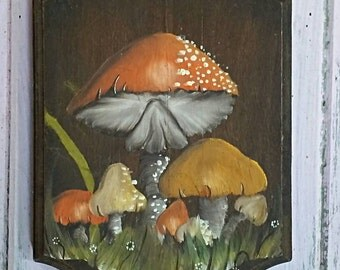 Vintage 1970s Hand Painted Mushrooms Wooden Plaque