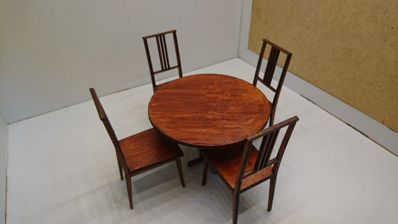 Miniature modern brown wooden round table with 4 chairs, IKEA inspired, natural wood colour 1/12 scale for dollhouses