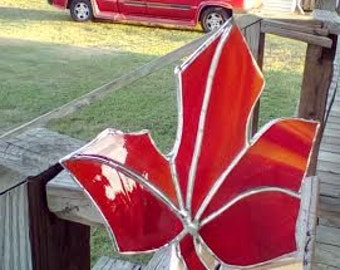Stained Glass Red Autumn Leaf