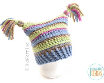 SALE Chunky Hat with Tassels READY to SHIP for Child Size