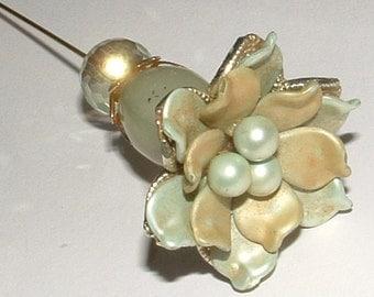 "HATPIN- my own design- real jade& flower - cut crystal too 8"" pin  sooooooo cute-SHABBY CHIC"