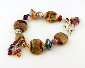 Handmade Lampwork Bracelet Sterling Silver Purple Gold Beaded Jewelry 'Autumn Fire'