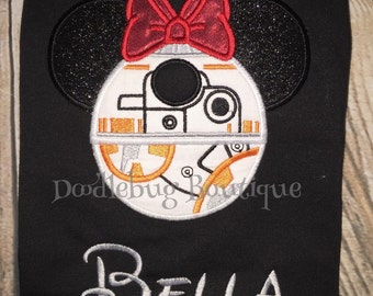 BB8 Minnie Mouse shirt with name