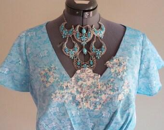 handmade top, upcycled blouse, tiny elephant print, upcycled clothing, boho top, bohemian clothing, gypsy clothing