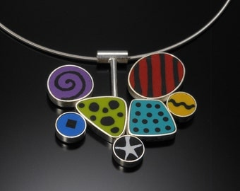 Sterling silver, polymer necklace #46