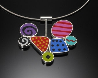 Sterling silver with polymer clay necklace #48