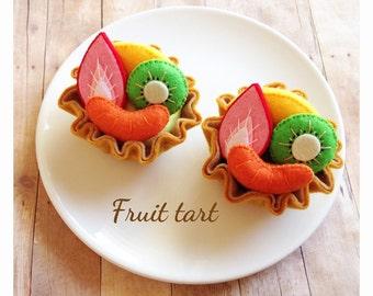 Etsy Pretend food Felt food Play food Kawaii Sweets fruit tart set (2pc)
