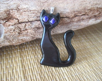 Black Cat Pendant with Fused Dichroic Eyes