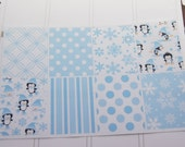 Winter Full Box Planner Stickers Penguins Snowflakes in Blue PS159c Fits Erin Condren Planners