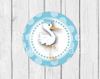 Blue Stork Stickers Envelope Seals Blue Baby Shower Envelope Seal SES381