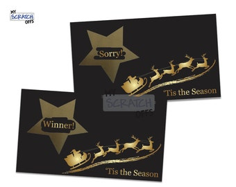 Scratch Off Game Cards Santa Sleigh - 'Tis the Season Christmas Winter Holiday Scratch-Off Cards