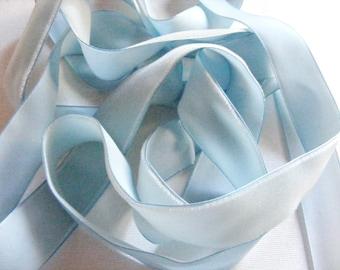 Vintage 1950's FADED AGED Velvet Ribbon 7/8 Inch Gorgeous Light Blue