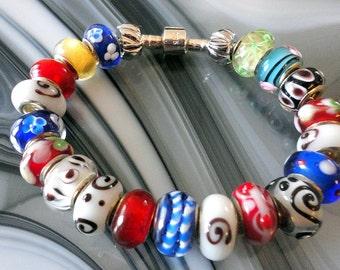 Slider Multi Color Art Glass Beaded Bracelet