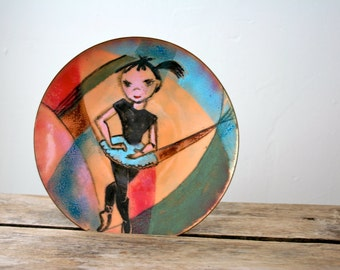 Vintage Enamelware Girl Dancer 1950s Enameled Copper Dish Modern Art SALE
