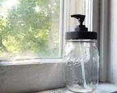 Rustproof Mason Jar Soap Dispenser, clear jar and black pump lid