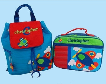 Child's Personalized Stephen Joseph AIRPLANE Backpack and Lunchbox School Set-Monogramming Included