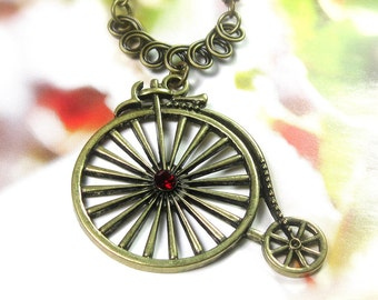 Vintage Style Necklace, Penny Farthing High Wheel Bicycle Necklace, Red Swarovski Crystal Pendant Necklace, Womens Accessories, Gift For Her