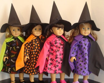 """18 Inch Doll Clothes Whimsical Witch /3 piece witch costume/ Made to fit 18"""" Girl Doll/READY TO SHIP"""