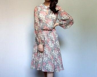 Vintage Floral Fall Dress 70s Jonathan Logan Long Sheer Sleeve Feminine Day Dress - Medium M
