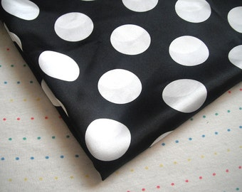 "Black and White Large Polka Dot Print Satin Lining Fabric, 60"" Wide - LAST YARD"