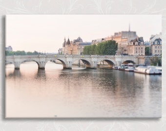 Paris Photo on Canvas, Dawn, Pont Neuf, Gallery Wrapped Canvas, River Seine, French Home Decor, Large Wall Art