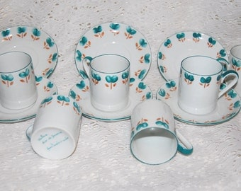 Vintage Brazil Espresso cup and saucer set - 6 each - handpainted