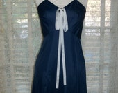 Vintage 1940s Navy Blue Nylon Slip with Antique Ribbon Trim Size Med Sears Label
