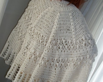Vintage 1940s Rare Unique Huge Round Lacey Off White Crochet Shawl or Tablecloth Wedding Dble Layer Mint Cond One Size Fits All