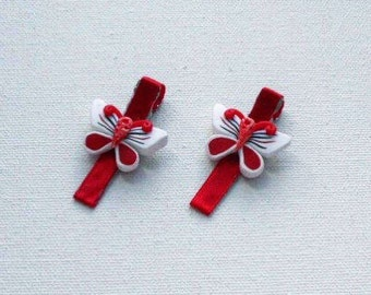 Red Satin Butterfly Barrettes