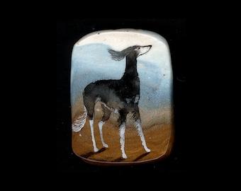 Dog Jewelry: Windy Day Saluki Pin. Sighthound. Copper, Blue, Dark Grey and White 3943