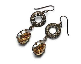 Romantic Filigree and Crystal Earrings Swarovski Teardrops in Patina Brass Crown Edge Settings Vintaj Lacy Filigree Victorian Gypsy Boho
