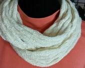 Alpaca Infinity Scarf, Circular Scarf, Suri Alpaca/Polwarth Blend, Natural White