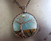 Tree of Life Necklace, Chohua Jasper, Amazonite & Copper, Wire Wrapped Pendant, Sacred Tree,  Ready to Ship