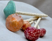 Ceramic Mushrooms - Mushroom Sculptures  - Garden Decor. Red - Turquoise - Terracotta Hand - Built Ceramics.  Yard Art.